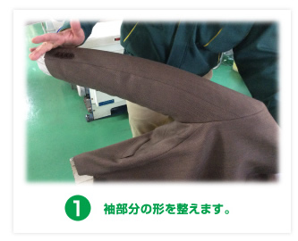 袖部分の形を整えます。